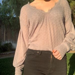 Free People Flared Long Sleeve Knitted Top